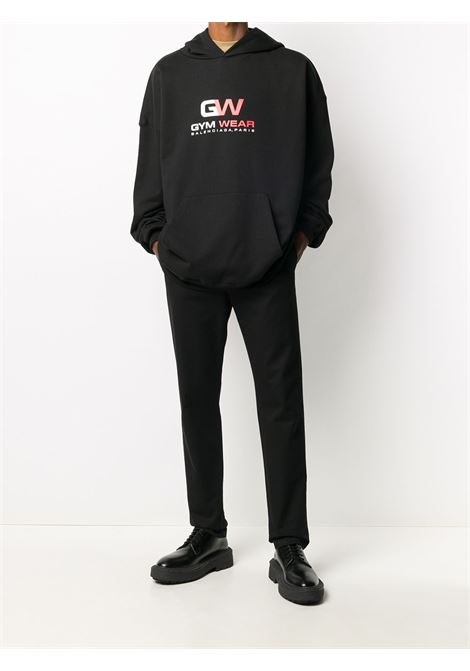 black cotton hoodie featuring Gym Wear red and white logo print BALENCIAGA |  | 620973-TIVD41000