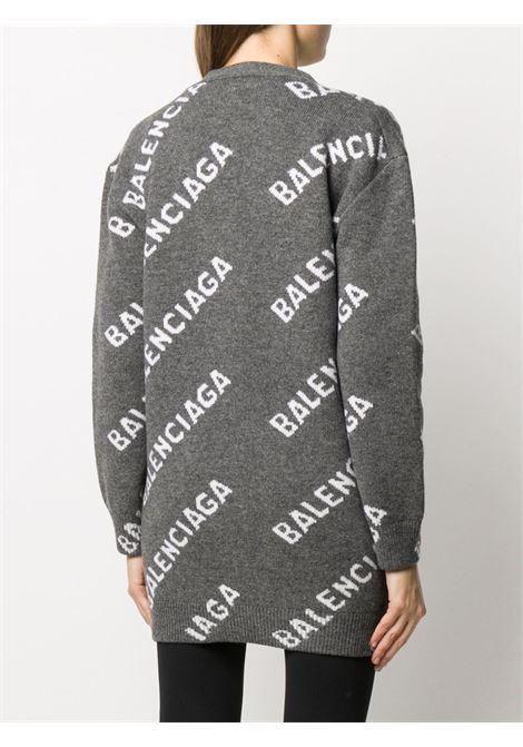 Grey wool cardigan featuring  white Balenciaga intarsia-knit logo BALENCIAGA |  | 620984-T15671382