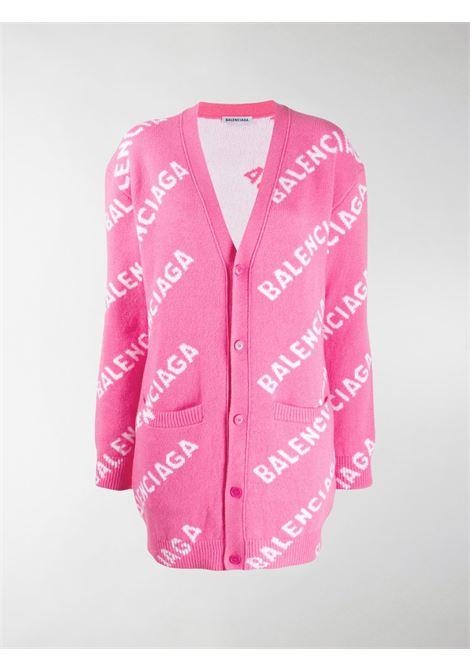pink oversized cardigan with Balenciaga white logomania all over BALENCIAGA |  | 620984-T15675621