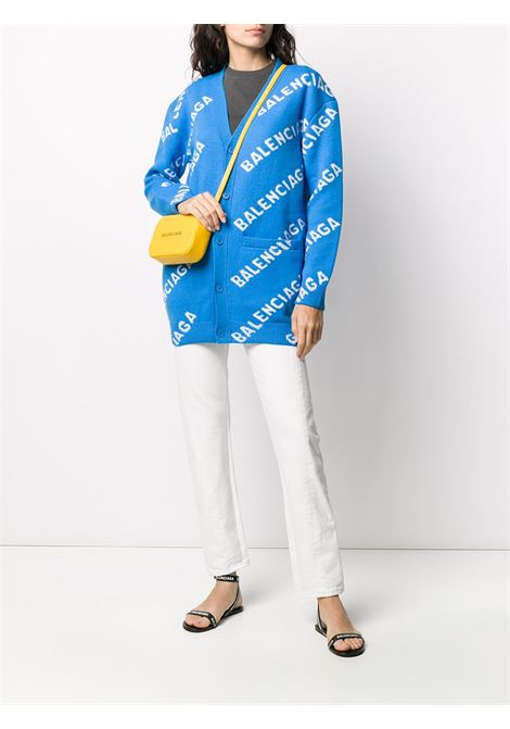 sky blue oversized cardigan with Balenciaga white logomania all over BALENCIAGA |  | 620984-T15677560