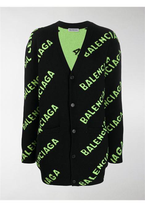 black wool overized cardigan with green Balenciaga logo all over BALENCIAGA |  | 620984-T15679113