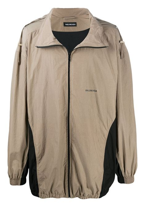 Beige and black cotton-modal blend panelled oversized zipped jacket featuring Balenciaga logo BALENCIAGA |  | 625510-TDO139577