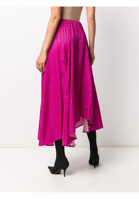Pink black polka-dot skirt featuring  high waist with all-over tonal newspaper print. BALENCIAGA |  | 625534-TJLB41401