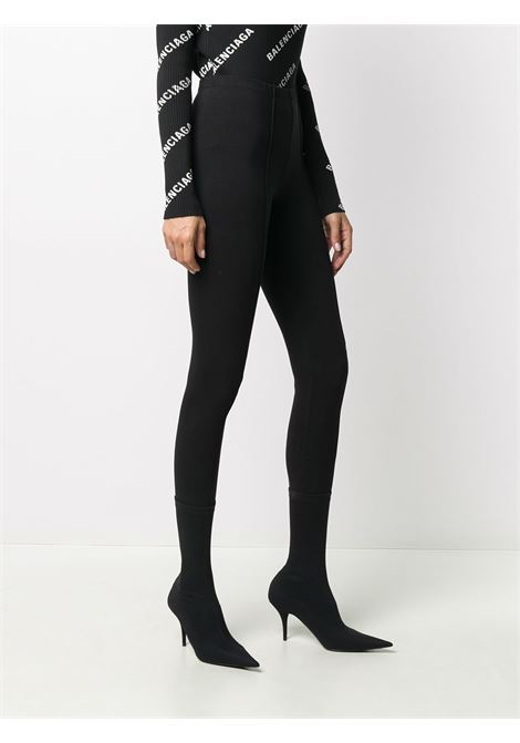 Leggings Gym Wear in jersey di cotone elasticizzato nero con elastico in vita BALENCIAGA | Pantaloni | 629233-TIVD61000