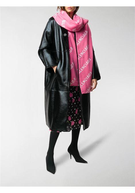 Pink and white wool blend 220x40 scarf featuring Balenciaga all-over logo print BALENCIAGA |  | 633719-T15675621