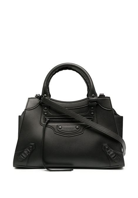 Black calf leather Neo small tote bag featuring circular top handles BALENCIAGA |  | 638521-11R171000