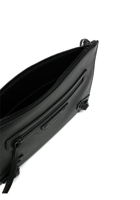 Black calf leather zip-detail clutch bag  featuring grained texture BALENCIAGA |  | 640113-15Y071000