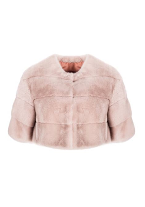 Pink mink fur crop top jacket with 3/4 sleeves and mandarin collar BLANCHA |  | 20013/100S-1MAKE UP