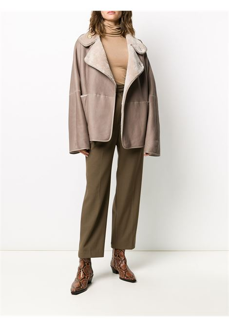 Neutral merino wool shearling wrap front coat featuring an oversized fit BLANCHA |  | 20057/300-33SPICE-BLU