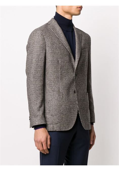 Brown virgin wool, cashmere and silk blazer featuring houndstooth print BOGLIOLI |  | BSC036-0291291