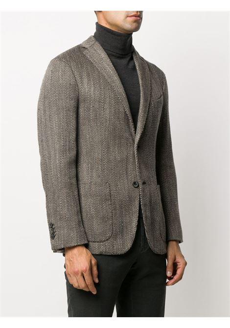 Giacca grigia in lana e lino a spina di pesce con due bottoni BOGLIOLI | Giacche | N1302J-BSC4590409