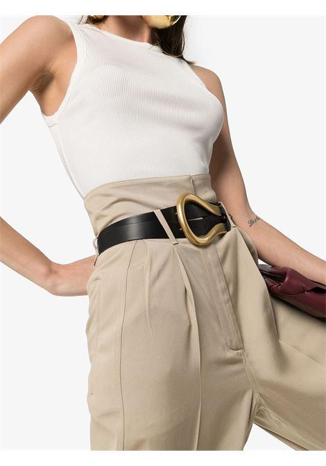 cintura 2,5cm in pelle di vitello nera con fibbia dorata BOTTEGA VENETA | Cinture | 577040-VMAU18648