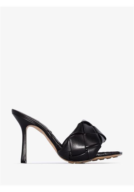 black 120mm high stiletto heel BV Lido padded quilted leather sandal BOTTEGA VENETA      608854-VBSS01000