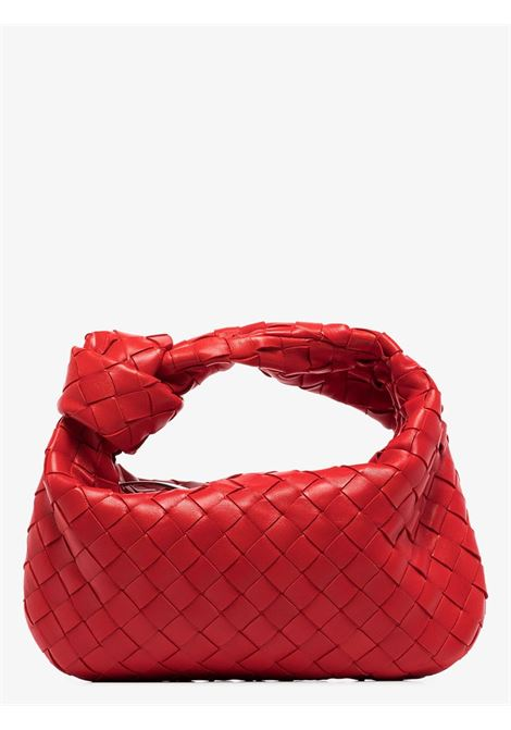 Jodie mini hobo bag in red calf leather and Intrecciato motif BOTTEGA VENETA |  | 609409-VCPP56408