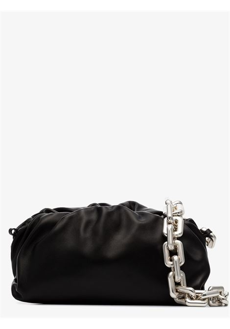 The Chain Pouch in black calf leather with silver squared shoulder belt BOTTEGA VENETA |  | 620230-VCP401229