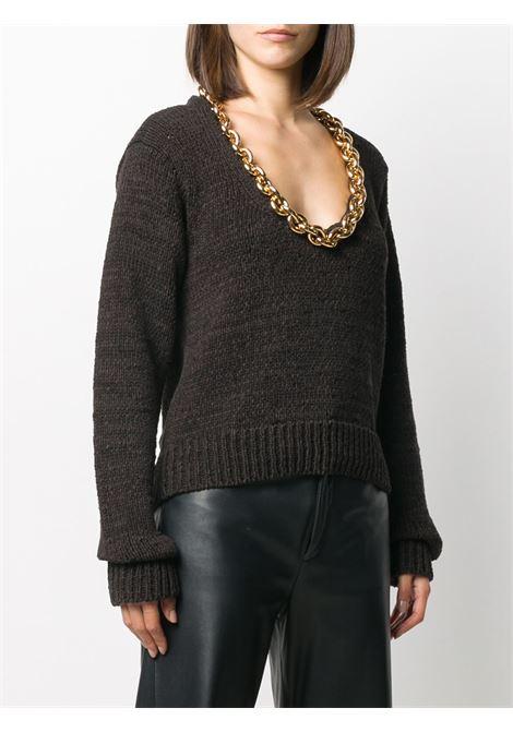 maglione bianco in misto cotone con catena dorata spessa con scollo a V BOTTEGA VENETA | Maglieria | 628711-VKWB02113