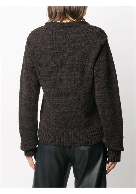 black cotton-blend gold chunky-chain detail jumper  featuring V-neck, BOTTEGA VENETA |  | 628711-VKWB02113