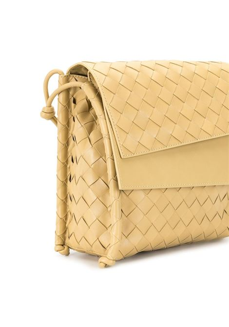 Gold calf leather Bv Fold crossbody bag in Intrecciato Nappa design BOTTEGA VENETA |  | 631463-VCPP19484