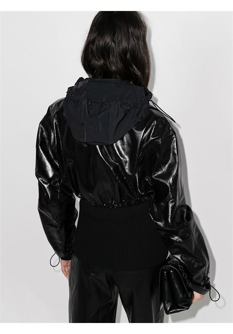 black leather and knitted panelled jacket featuring high neck BOTTEGA VENETA |  | 633443-VKLC01000