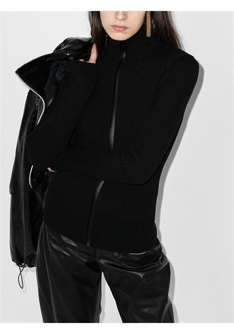 giubbino corto a pannelli in pelle nera e maglia con collo alto e cappuccio in nylon BOTTEGA VENETA | Giubbini | 633443-VKLC01000
