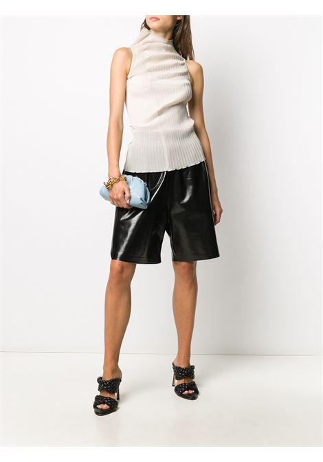 black lambskin knee-length shorts featuring elasticated waistband BOTTEGA VENETA |  | 633445-VKLC01000