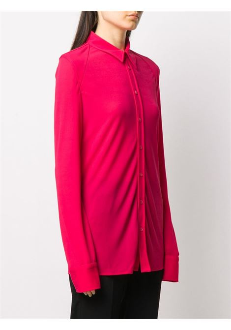 Lollipop pink semi-sheer button-up shirt featuring  spread collar BOTTEGA VENETA |  | 636591-V02I05521