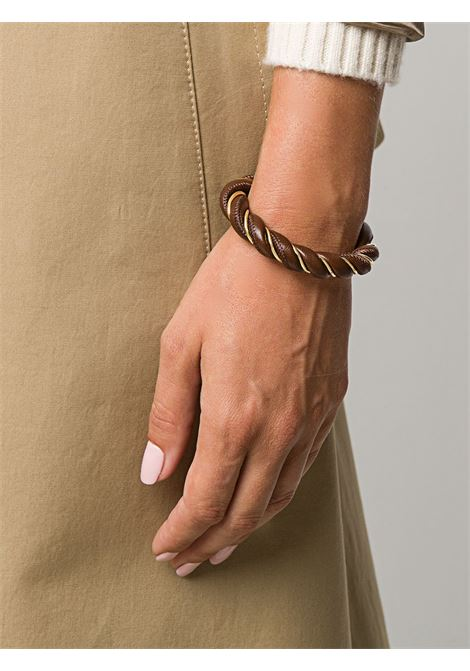 Brown leather bracelet featuring twist detailing and gold-tone hardware. BOTTEGA VENETA |  | 636836-VAHUA2234