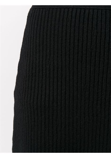 Black wool-blend ribbed A-line skirt BOTTEGA VENETA | Gonne | 638136-V08G01000