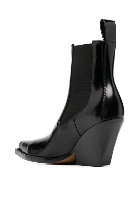 Western-inspired black Bv Lean ankle boot in brushed calfskin with elongated square toe BOTTEGA VENETA |  | 639826-V01M01000
