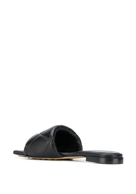 Black lamb leather Lido woven flat sandals  BOTTEGA VENETA |  | 639940-VBP301000
