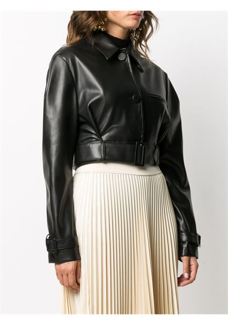 Black polyester cropped faux leather jacket featuring belted waist BROGNANO |  | 29BR1H02P-20475999
