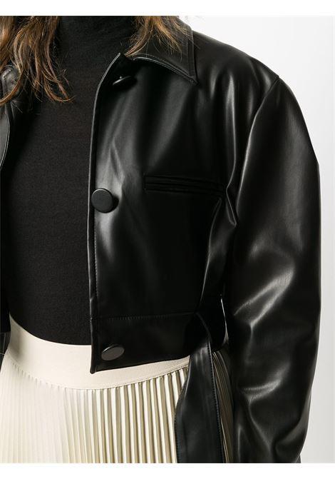 Giacca corta in ecopelle e poliestere nero con cintura in vita BROGNANO | Giubbini | 29BR1H02P-20475999