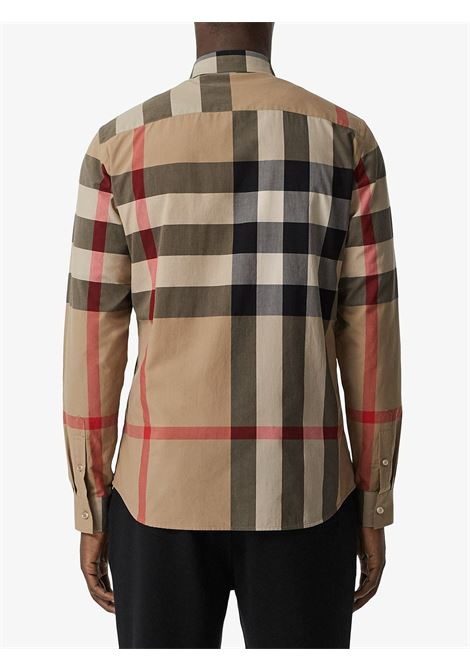 camicia in cotone beige con Burberry Check print BURBERRY | Camicie | 8010213-SOMERTONA7028