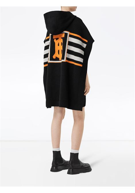 Black cotton cape with hood and white and orange horizontal stripes BURBERRY |  | 8017769-ST TB MONO STRPA1189