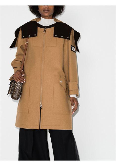 Parka tecnico con cappuccio applicato in misto lana con logo Burberry color cammello BURBERRY | Cappotti | 8026455-LISBURNA1420