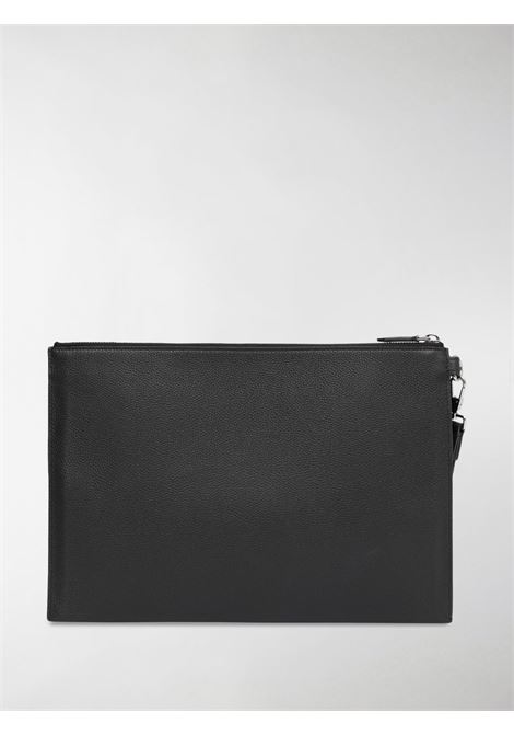 Black calf leather large monogram motif grainy zip pouch BURBERRY |  | 8030725-MS LG EDINA1189