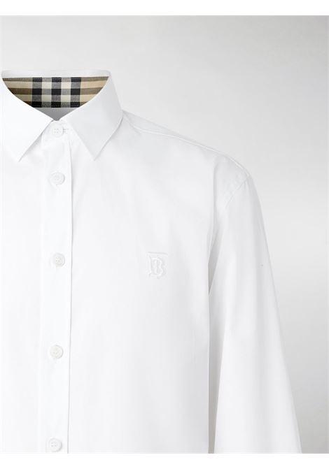 White stretch cotton Monogram Motif slim-fit shirt featuring Burberry Vintage Check details BURBERRY |  | 8032308-SHERWOODA1464