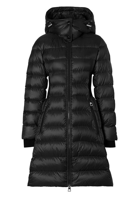 Black feather down rib-knit Econyl puffer coat featuring front zip fastening BURBERRY |  | 8036140-DANDERHALLA1189