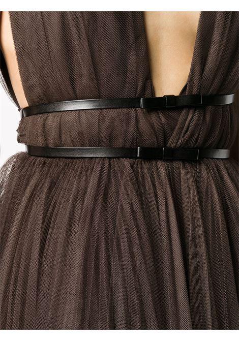 Mini abito marrone scuro smanicato con pannelli in rete BROGNANO | Abiti | 29BR1A11-20475130