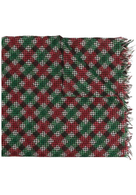 Dark green red and beige cashmere-blend Gingachecked knitted scarf  DESTIN |  | GINGA1