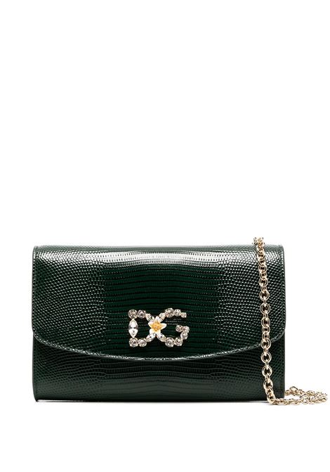 Emerald green calf leather Iguana-print mini bag featuring gold-tone hardware DOLCE & GABBANA      BI1275-AJ5478G585