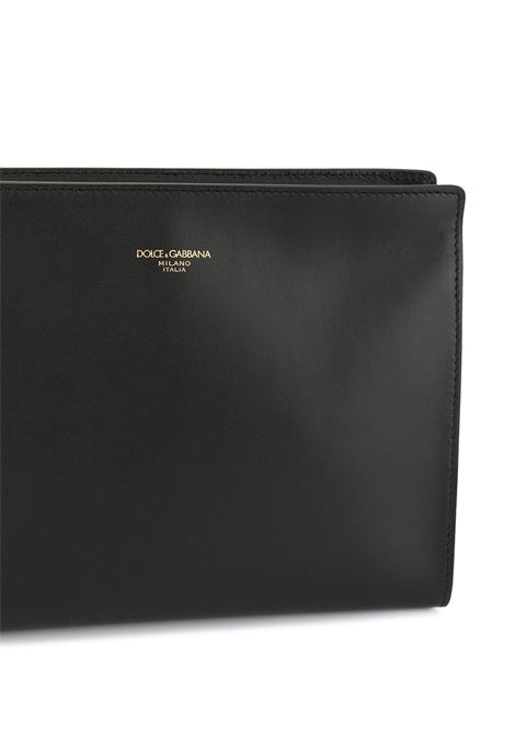 black leather logo clutch bag features wrist strap DOLCE & GABBANA |  | BM1745-AC95480999