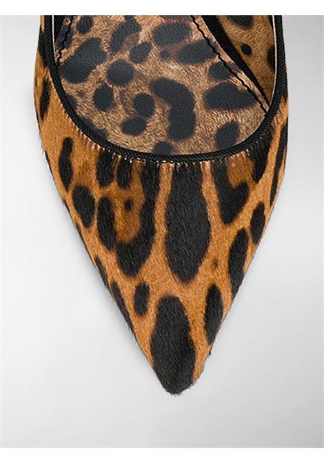Décolleté slingback con stampa leopardata in cavallino marrone e nero DOLCE & GABBANA | Scarpe con tacco | CG0304-AZ417HAALM