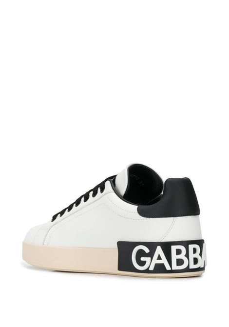 Black and white leather low-top sneakers featuring Dolce & Gabbana logo patch to the rear DOLCE & GABBANA |  | CK1544-AW710HWF57