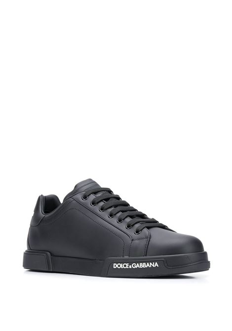 black low-top leather sneakers with side white logo DOLCE & GABBANA |  | CS1774-AA3358B956