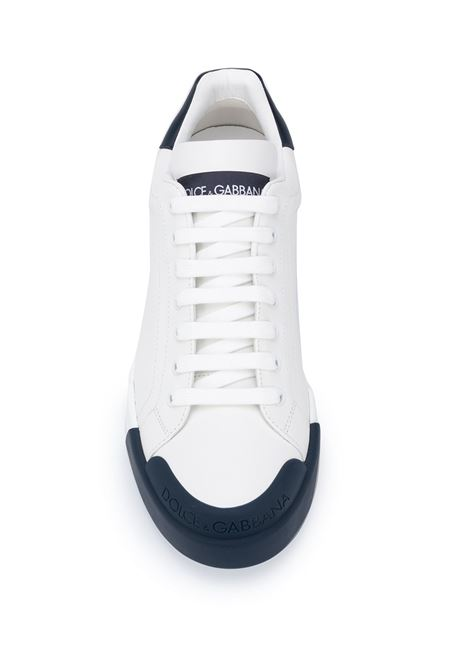 white calf leather low Portofino sneakers with midnight blue contrasting details DOLCE & GABBANA |  | CS1802-AW1138N123