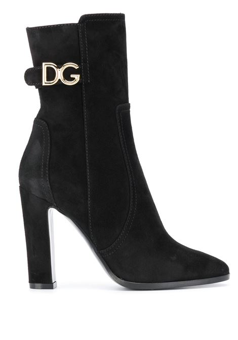 Black lamb suede effect leather 100 heel boots featuring gold-tone DG side logo  DOLCE & GABBANA |  | CT0669-A127580999