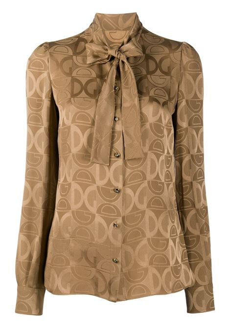 blusa marrone chiaro in seta jacquard con logo DG DOLCE & GABBANA | Camicie | F5I11T-FJ1IDM0172