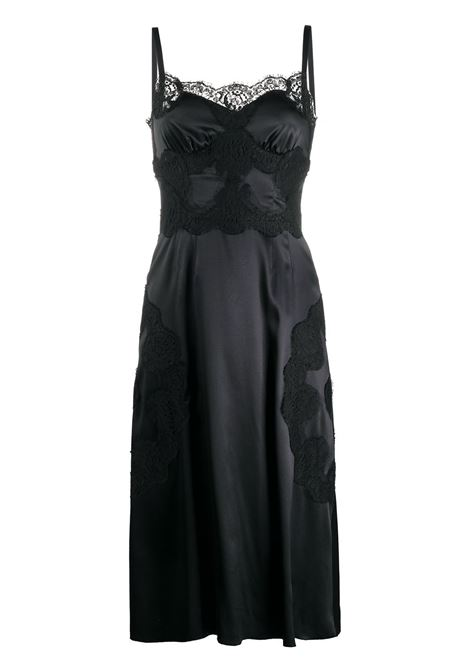 Black silk and cotton blend satin slip dress featuring lace trim DOLCE & GABBANA |  | F6K2WT-FURAGN0000