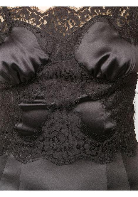 Black silk and cotton blend satin slip dress featuring lace trim DOLCE & GABBANA |  | F6K2WT-FURAGN0000